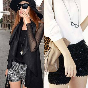 2012 winter autumn fashion designer silver golden black spandex womens sequins high waist shorts tihgt sexy hot pants for women