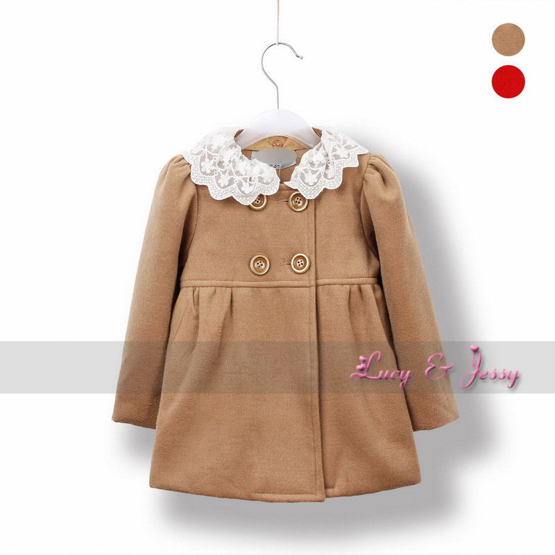 2012 winter child baby girls clothing wool blending faux thick woolen outerwear overcoat trench