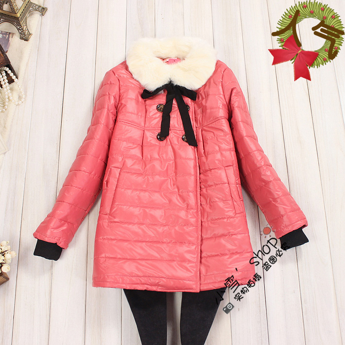 2012 winter maternity clothing fur collar solid color thickening wadded jacket cotton-padded jacket cotton-padded jacket f118