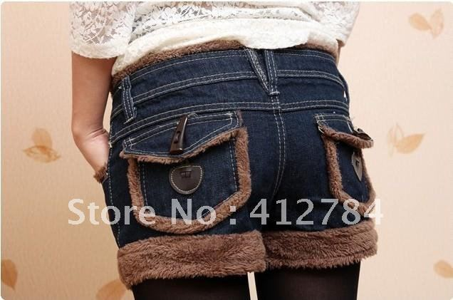 2012 Winter the new lamb Burr cowboy code loose woolen shorts
