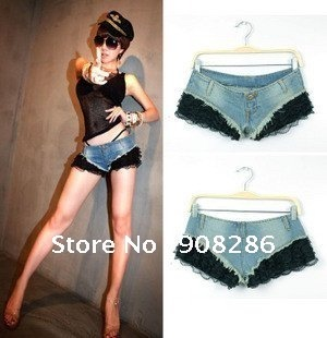 2012 women fashion and sexy lace split joint and super low-waist jean shorts/ free shipping