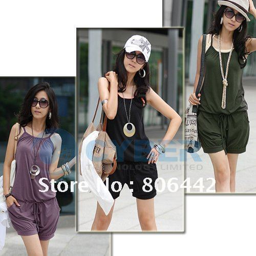 2012 Women Fashion Sexy Sleeveless Romper Strap Short Jumpsuit Casual Jump suit pants, free shipping