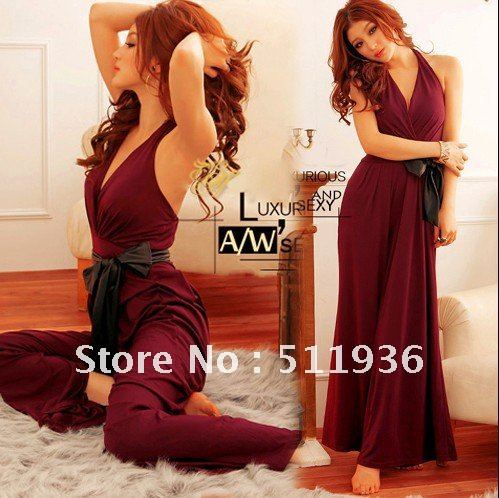 2012 Women Halter V-neck Overall Rompers Jumpsuit Wide-leg Pants Trouser Casual Loose Legging Free Shipping #C51805