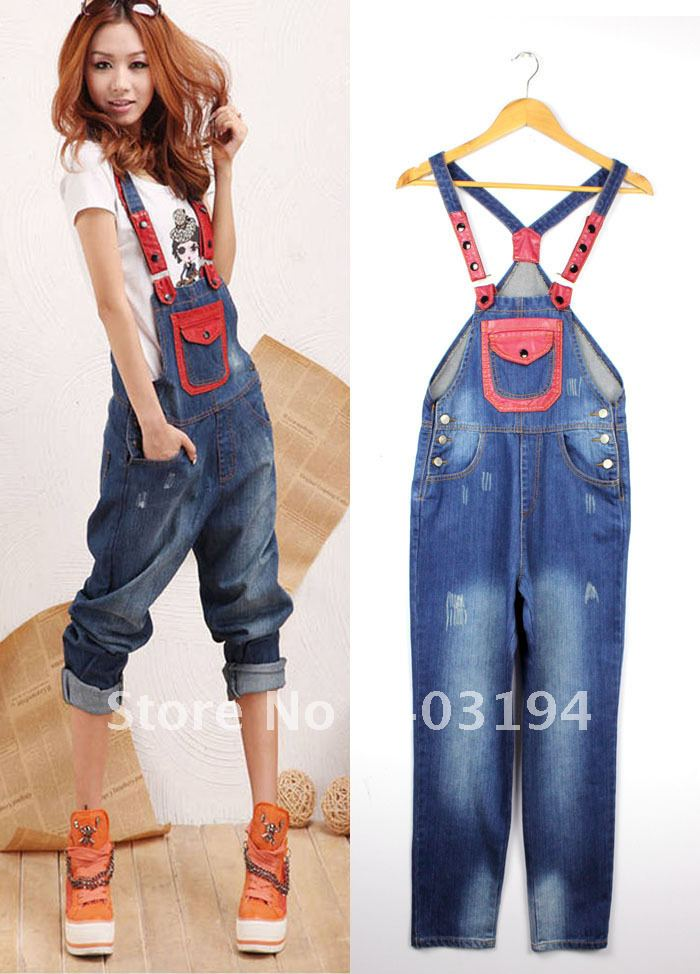 2012 Women Ladies Bib pants female all-match loose jumpsuit jeans casual spaghetti strap trousers