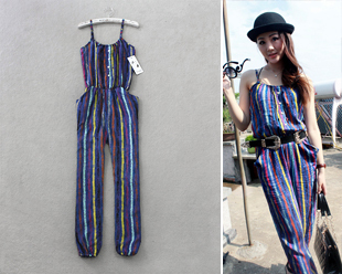 2012 women new fashion personalized multicolour stripe jumpsuits for women