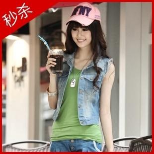 2012 women's denim vest fashion plus size small vest denim material outerwear
