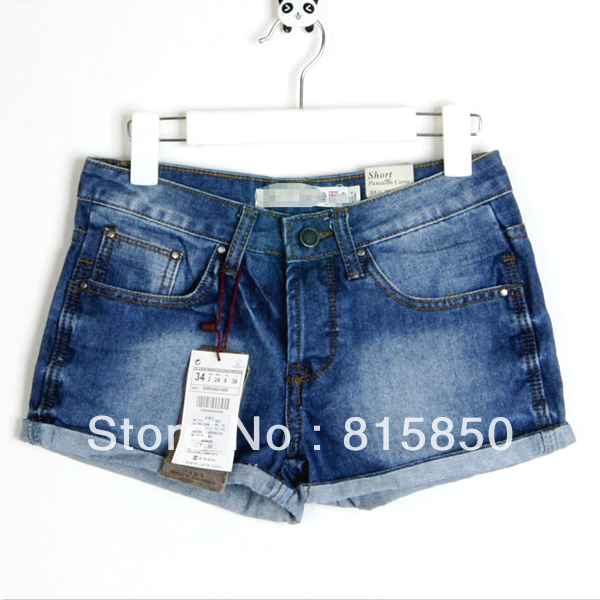 2012 women's fashion end of a single roll-up hem wearing white women's denim shorts women's single-shorts/Sp05