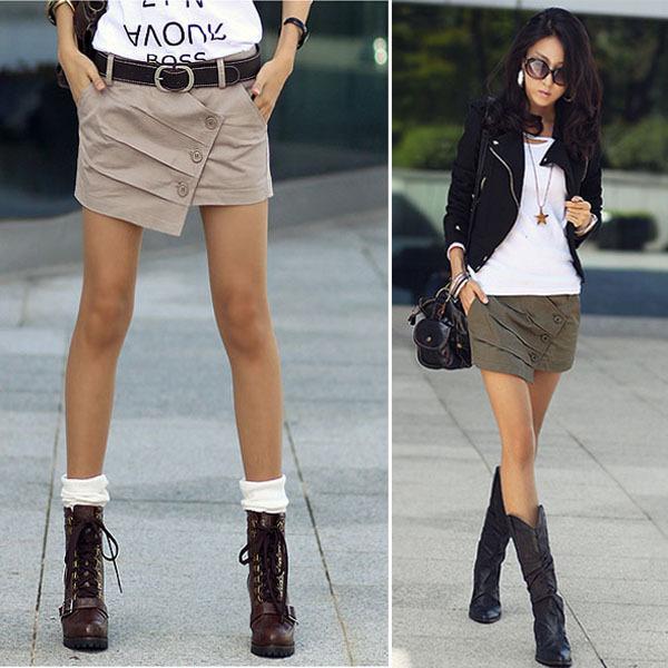 2012 women's personality irregular mid waist short skorts pleated culottes