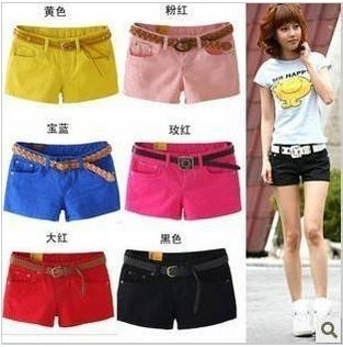 2012 women's spring slim waist faux denim candy color multicolour shorts