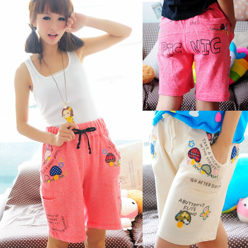 2012 women's summer all-match loose small mushroom letter pattern big pocket shorts