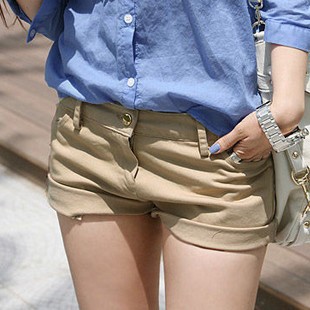 2012 women's summer slim casual shorts small gold buckle 100% cotton slanting stripe pocket pants shorts