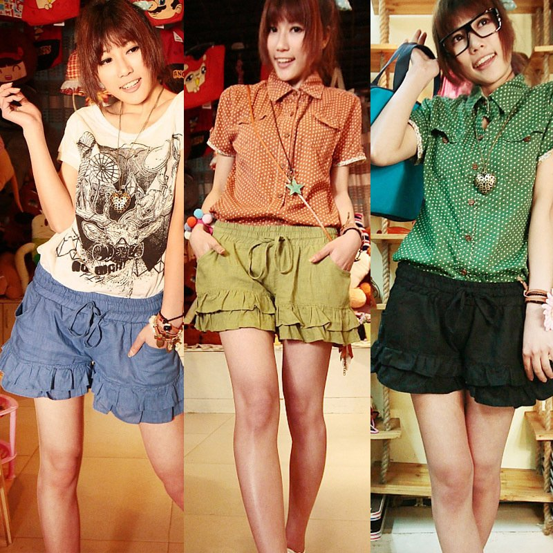 2012 women's summer solid color casual all-match elastic waist ruffle sweep skorts shorts