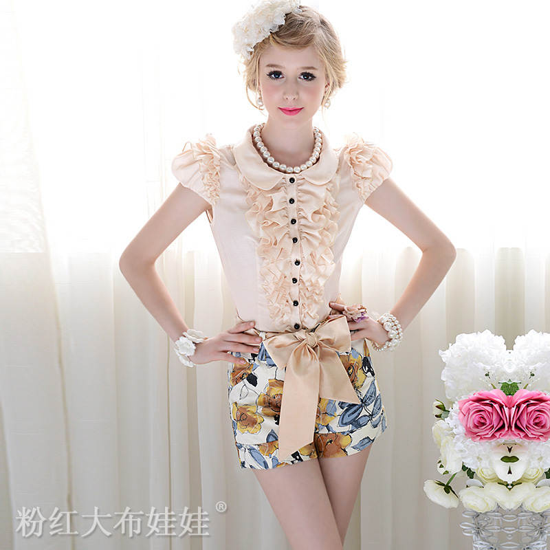 2012  yellow flower print slim belt women shorts