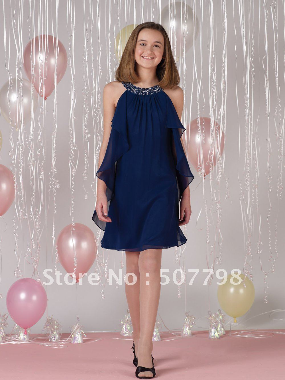 2012fall collection- halter a-line crystals flouncing side flower girl dress, special ocasions apparel in wedding party for kids