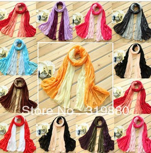 2012New 12pcs/lot Wwomen's scarf scarves Color mixing Winter Candy wrinkle scarf scarf special female