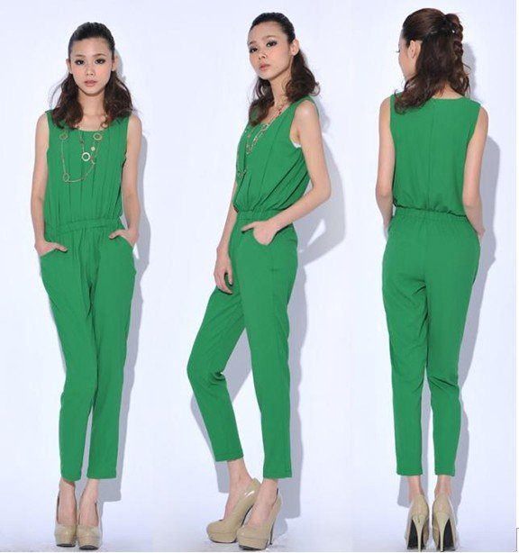 2012new arrval fashion sleeveless chiffon pleated tank Haren loose pants womens'  jumpsuit cozy overall casual Brand design