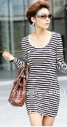 2012NEW Discount Lady's dress Long sleeve Slim Skirt free shipping