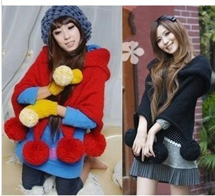 2012winter vintage hair ball cloak cape/hooded short design pullover sweater scarf cape style wool sweatershirt free shpping