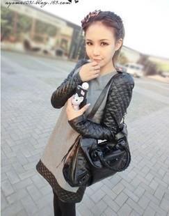 2013 autumn and winter black leather sleeve  all-match slim patchwork fur woolen one-piece dress  fashion size M L XL
