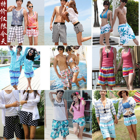 2013 beach pants lovers shorts board short male Women knee-length pants plus size