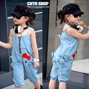 2013 Best Selling Children Kids Clothing Girs Suspender Children Kids Overalls Hello Kitty Jeans Suspender New Designs