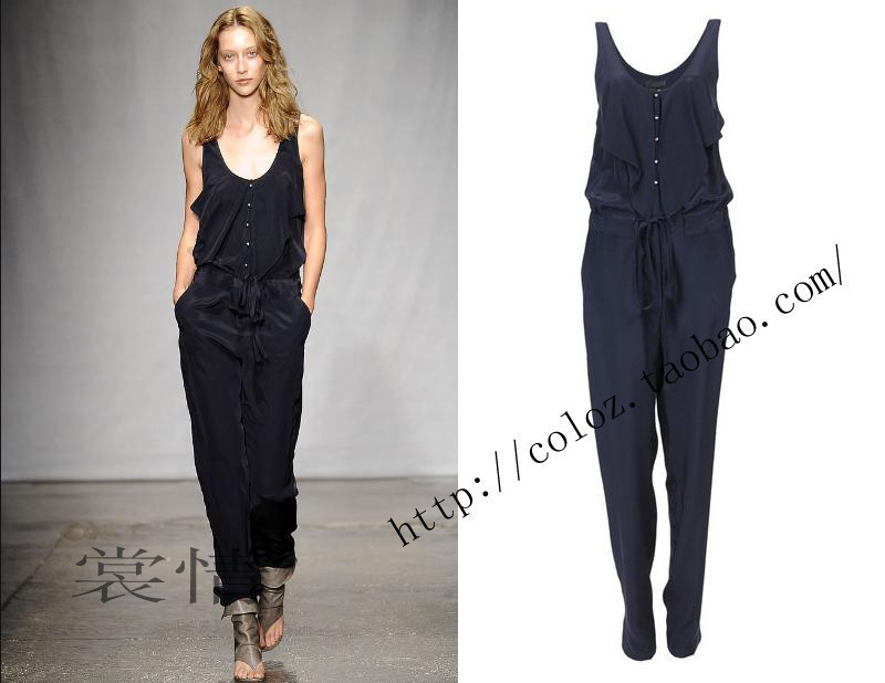 2013 brand new arrival Fashion black sleeveless o-neck vest  top strap jumpsuit flexible waite long trousers female overalls