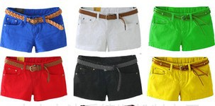 2013 Bright Colors Fahion Sexy Low Rise Women Cotton Shorts/Hot Pants, 5 Size, Free Shipping