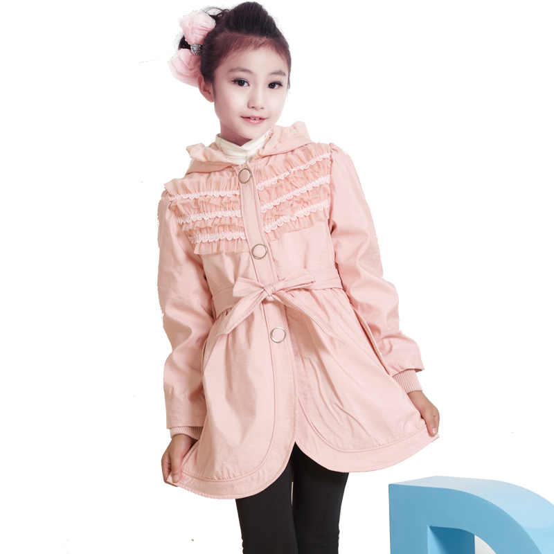 2013 children's clothing child trench female child outerwear lace thickening outerwear