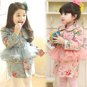 2013 children's spring clothing cotton female child faux two piece trench c082301