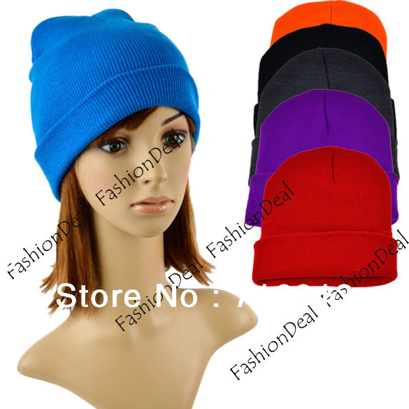 2013 Color Warm Unisex Beanie Solid Plain Acrylic Knit Ski Beanie Hat 6 Colors Free Shipping9318