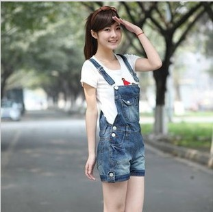2013 Cute Denim overalls Package hip students Suspenders skirt Female Siamese Overalls Denim shorts Free Shipping