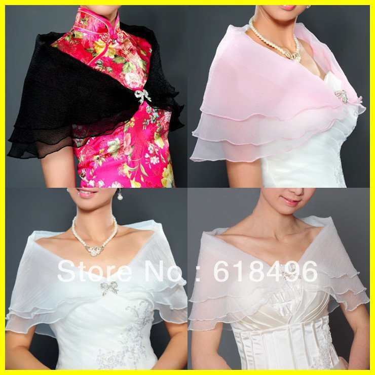 2013 Elegant Cheap Organza Shrug Cape Stole Wrap Shawl Wedding Bridal for free shipping