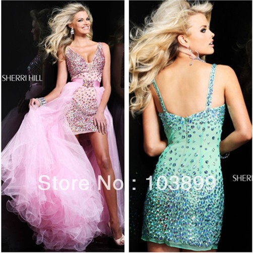 2013 Euro Type Sheath V-neck Short Crystals Prom Dress Removable Long Skirt