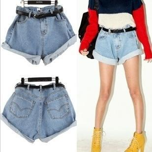 2013 Europe and America to restore ancient ways of tall waist edge code cowboy shorts washed flanging big leisure personality
