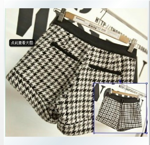 2013 European style new spring women's wild retro Houndstooth curling shorts B30