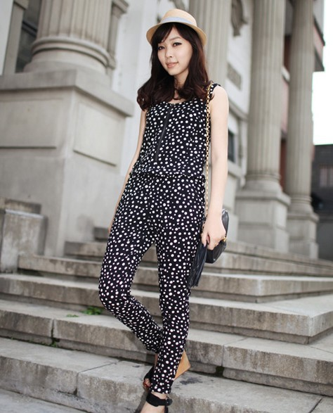 2013 Fashion Cute Dot Cotton Women Jumpsuits With Zipper And Pocket, Black