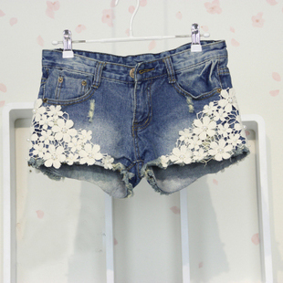 2013 Fashion Jeans Shorts Denim Shorts Pearl Lace Flowers Rivet Hollow Out Free Shipping