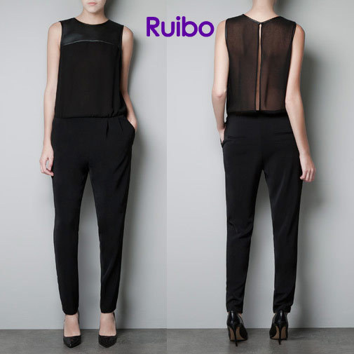 2013 Fashion Jumpsuit Leather Patchwork Chiffon Sleeveless Jumpsuit Sheer Tops Sexy Rompers for Women black Free Shipping
