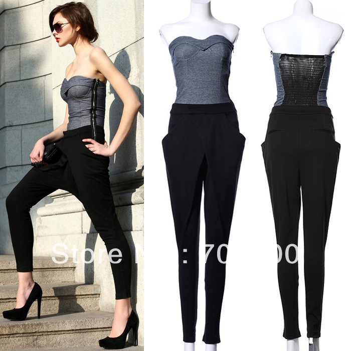 2013 Fashion Sexy Off Shoulder Denim Harem Jumpsuits For Women Free Shipping