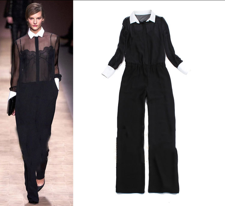 2013 Fashion Spring Women Turn-down Collar Long Sleeve Sheer Lace Jumpsuit Designer Romper Overalls SS12616