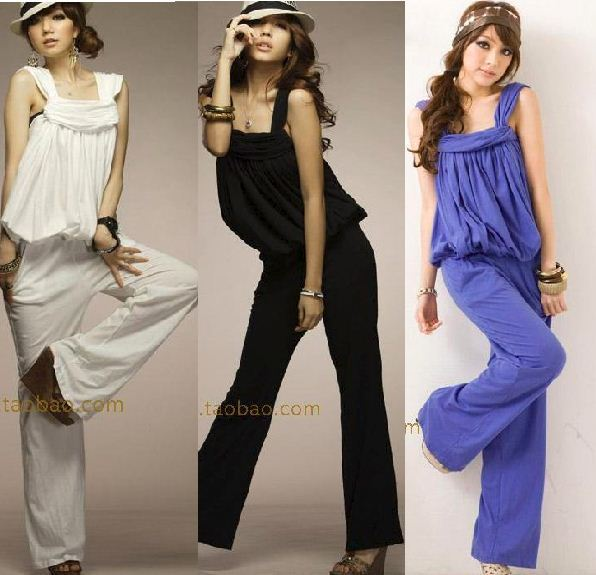 2013 fashion summer jumpsuit trousers women'sROMPER plus size wide leg pants