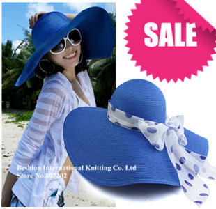 2013 Fashion Women's Foldable  Large Hollywood sexy lovely wide wire brim Summer / Beach / Sun /Floppy / Straw hat 7 colors