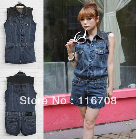 2013 fashion women's single breasted color block decoration turn-down collar sleeveless denim one piece shorts jumpsuit js-002
