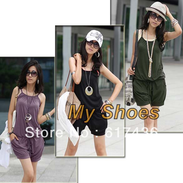 2013 Fashion Women Sleeveless Romper Strap Short Jumpsuit Scoop 3 Colors White, Black,Purple free shipping 3168