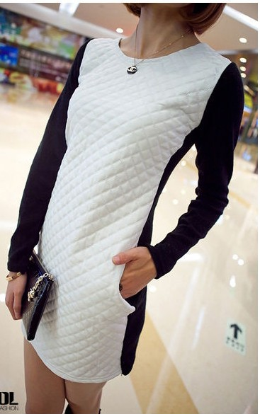 2013 Free Shipping Cotton Patchwork Faux Mini Leather Dress Women Ladies Fashion Knitted Casual DressF43