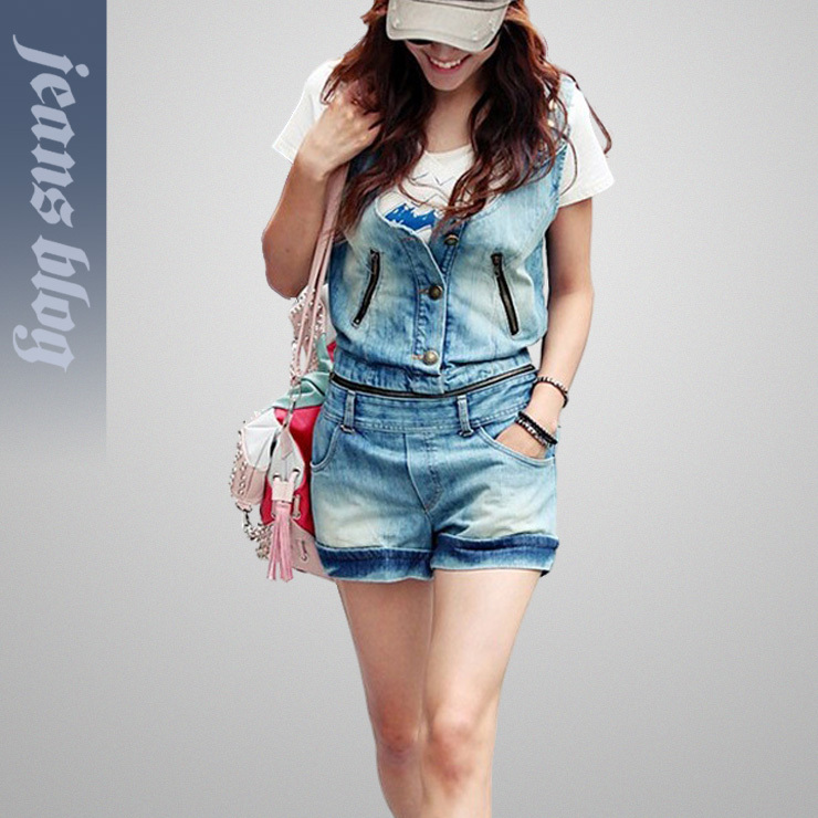 2013 Free Shipping Ladies overalls jumpsuit  Fashion Split Denim Jeans  9906