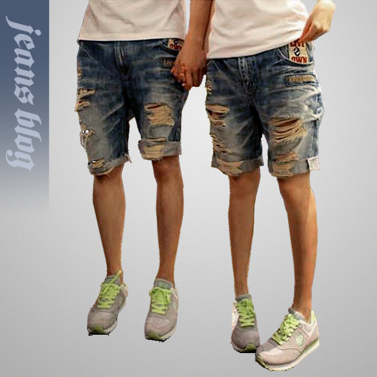 2013 Free Shipping Ladies Short Denim Pants Couple  Hole Jeans   9953