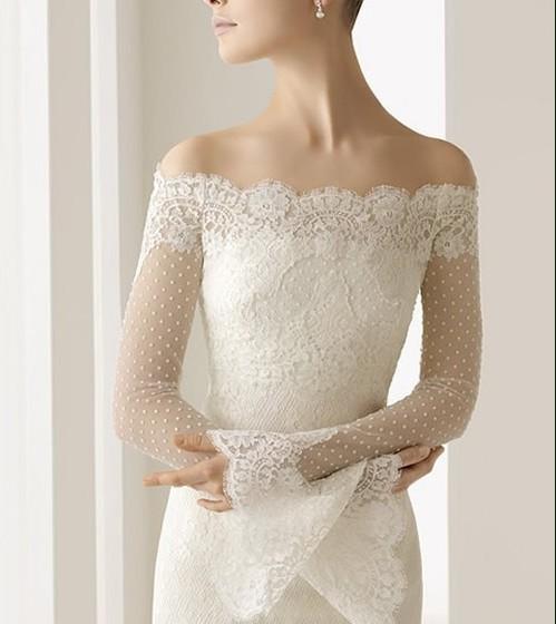 2013  Free Shipping Latest Design Lace  Long Trumpet Sleeve Bridal Bolero Jacket Bateua Wedding Dress Jackets 1PCs/Lot