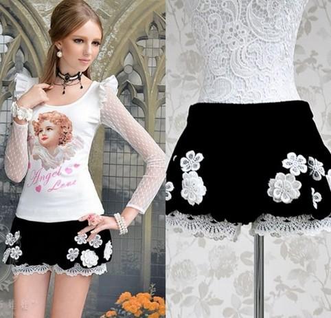 2013 Free Shipping New Fashion women Ladys lace Slim low waist Velveteen shorts Lanterns shorts Black Pants