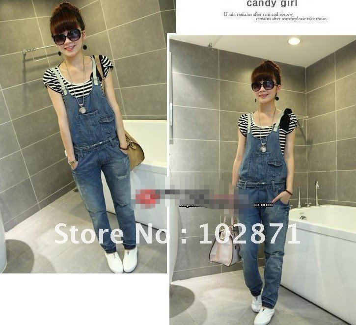 2013 Free Shipping Summer Bib ,Removable Bib ,Long jeans , new style ,Denim overalls ,fashion jeans